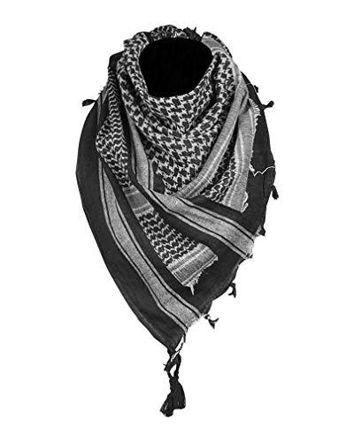 Mil-Tec Sciarpa PLO, Shemagh (110x110 cm Nero Bianco)