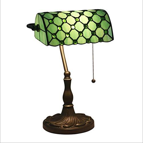 SymArt Lámpara de bureaA Salvo Oficina de Las Luces Home Classic banqueros Tabla Cama la luz de la lámpara de Escritorio, Pantalla de Cristal Luz Interior (Color : Freen)