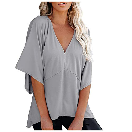 Tunika Bluse T Shirt Oberteil Damen Blumen Tops Langarm V Bluse Tops Frauen V-Ausschnitt 3/4 Bell Sleeve Summer Loose Solid Kimono Shirt (L,Grau)