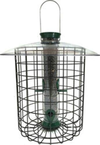 Droll Yankees SDC, 15 Inch, 1 Pound Seed Capacity, 4 Ports, Gre Squirrel Proof Feeder, Sunflower Domed Caged Bird F, 15-Inch, Green