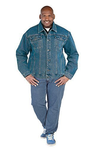 Duke London Hommes Big Tall King Taille Jeans Vestes Western Délavé Manteau - Délavé - Camionneur Taille Extra Large, 1X Large