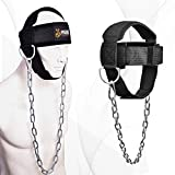 DMoose Fitness Neck Harness for Weight Lifting, Resistance Training, or Injury Recovery with Long Steel Chain, Improve Muscle Strength