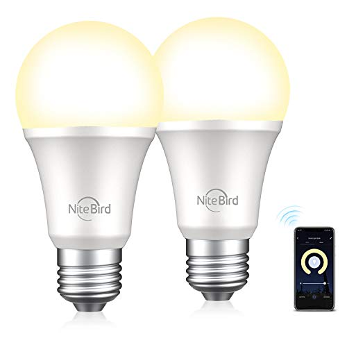 Smart Light Bulb Compatible with Alexa Google Home, NiteBird A19 E26 WiFi Dimmable Warm White 2700K LED Lights Bulbs, 75W Equivalent, No Hub Required, 2 Pack
