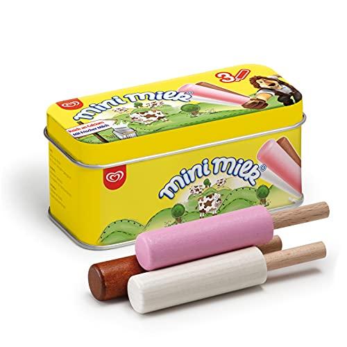 Erzi 14015 EIS Mini Milk aus Holz in der Dose, Kaufladenartikel für Kinder, Rollenspiele