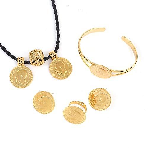 Gold Runde Münze Schmuck Äthiopischen Münze Halskette Ohrringe Ring Armreif Habesha Hochzeit Eritrea Afrika Arabischen Geschenk