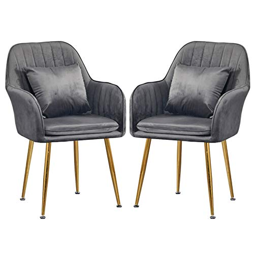 YAWEDA Sillas Comedor Juego de 2 sillas Terciopelo para Comedor Sillas Cocina Tela Asiento tapizado con sillón Acolchado Grueso Patas Metal Dorado Capacidad 180 kg (Color : Dark Gray)