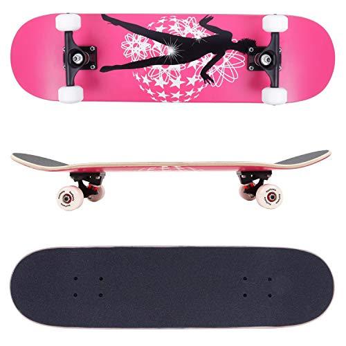 FunTomia Skateboard mit ABEC-9 Kugellager Rollenhärte 100A und 100% 7-lagigem kanadisches Ahornholz (Dancing Queen,)
