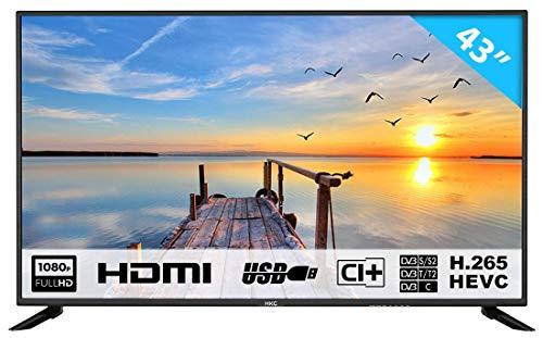 HKC 43F6 109 cm (43 Pouces) téléviseur LED (Full HD, Triple Tuner avec TNT, CI +, Mediaplayer Via...