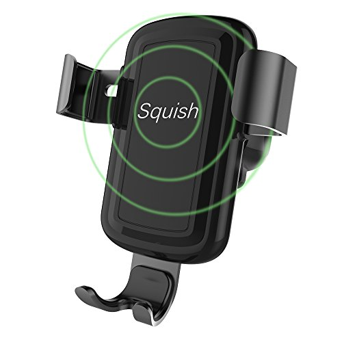Squish Wireless Charger Car Mount Adjustable Gravity Air Vent Phone Holder for iPhone Samsung Nexus Moto OnePlus HTC Sony Nokia and Android Smartphones Qi Certified