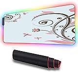 Alfombrilla suave RGB para juegos, grande, rama de flor Shabby Chic arremolinada RGB para juegos grande y fresca con bordes cosidos con hilo de nailon y base de goma antideslizantal tacto 600x350x30mm
