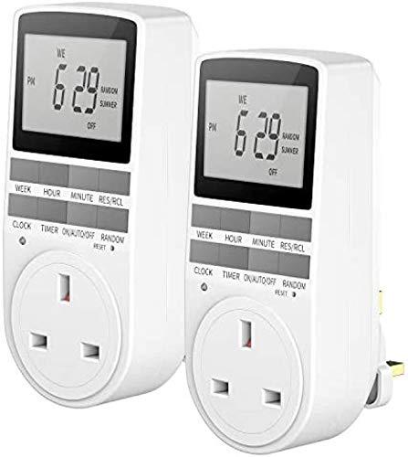 LANGYA Timer Plug Steckdose, digitaler programmierbarer Stecker, 24 Stunden/7 Tage, programmierbare Lichtschalter-Programme, 13 A/2900 W (2 Pack)