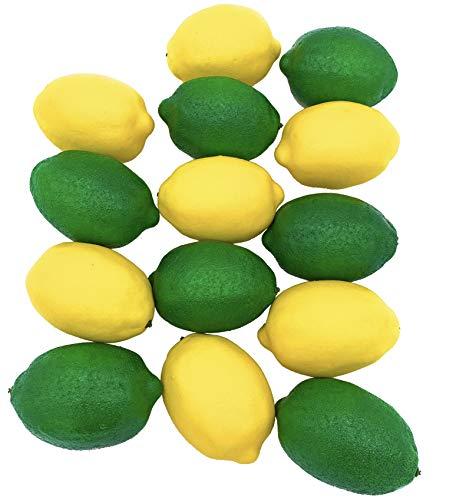 Lifelike Artificial Lemons and Limes - 14PCS - Large - 7 Fake Limes and 7 Fake Lemons - Realistic Fake Fruits for Decoration