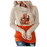 Sudadera Mujer Sin Capucha Sweatshirts Halloween Calabaza Disfraz FáCil Camisas Divertidas Manga Larga Blusa Jersey Sweatshirt SuéTer OtoñO Cuello Redondo Suelto SuéTer Moda Casual TúNica Tops