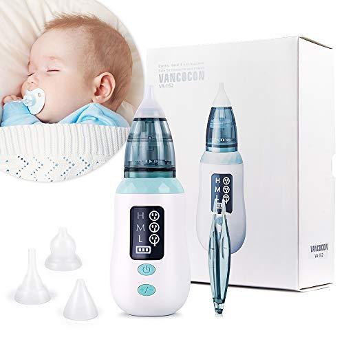 Nasensauger, Ultpeak USB-Ladekopfreiniger mit 3 Saugstufen, Ohrenschmalzentferner mit 4 wiederverwendbaren Rotzsaugdüsen für Säuglinge, Kleinkinder
