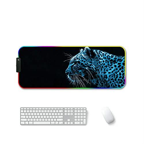 Alfombrilla de ratón para Juegos RGB extendida Grande XXL LED 14 Modos Brillantes Alfombrilla de ratón Negra para Jugadores de Ordenador PC - Leopardo azul-900x400 MM