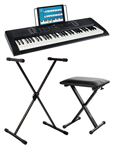 Funkey 61 Edition Keyboard Set inkl. Keyboardständer und Bank (128 Sounds, 128 Rhythmen, 10 Demo Songs, Netzteil, Notenständer, Ständer, Hocker) schwarz