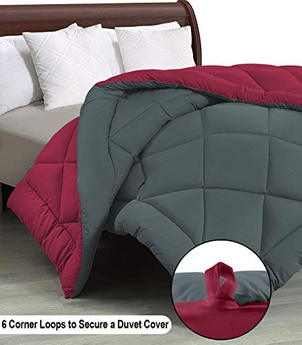 Cloth Fusion Pacifier 2nd Generation 200GSM Microfiber Reversible AC Comforter (Grey/Maroon, Double)