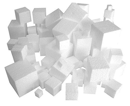 Styroporwürfel, Set mit 100 Stück, für Collagen, Kantenlängen von 1-4 cm, räumliche Kunstwerke, in unterschiedlichen Größen