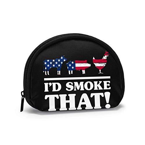 Lustige BBQ Grill I \'D Rauch, DASS Raucher Geschenk Usa kleine Münzgeldbörse Brieftasche mi-NI Kosmetiktaschen Reißverschlusstasche für Frauen