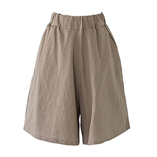Pantalones Cortos De Verano Casual Sólido Suelto Cortos De Cintura Alta De Algodón Corto Para Niñas Suave