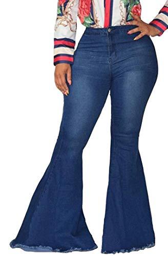 EVEDESIGN Women's High Waist Bootcut Flared Jeans Bell Bottom Flared Jeans Plus Size Darkblue