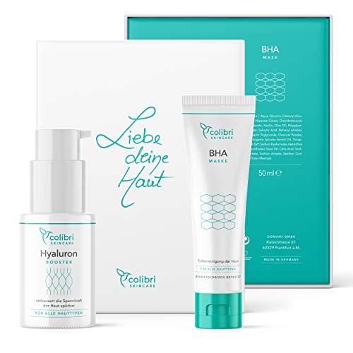 Colibri Cosmetics 2er Geschenk Set - 2 Gesichtspflegeprodukte - Edles Geschenk für Frauen - Ideal für Freundin, Mama oder Schwester - Mit Hyaluron Serum (30ml) & BHA Gesichtsmaske (50ml)
