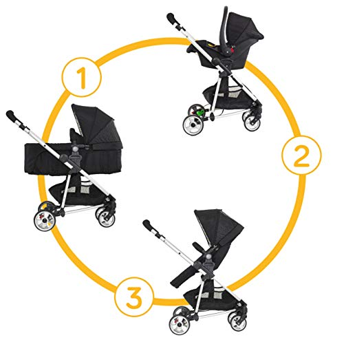 My Child Floe Travel System; Reversible Convertible 2 in 1 Pushchair with Group 0+ Infant Carrier Car Seat, Black