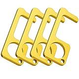 Hands Free Brass Door Opener Safety Hygiene Hand Handheld No-Touch Press Elevator Hand Stick, Health Key Tool for Open/Close Door(4 Pack)