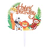 Toyvian Topper de la Torta de los Animales del zoológico, decoración de los Primeros de la Magdalena de los Animales de acrílico de la Selva para el cumpleaños de los niños
