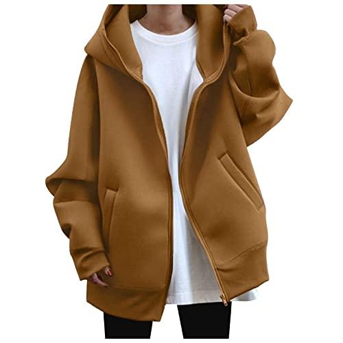 QEERT Abrigo de invierno para mujer, elegante, de manga larga, monocolor, con cremallera y capucha, chaqueta de forro polar con capucha, caqui, M