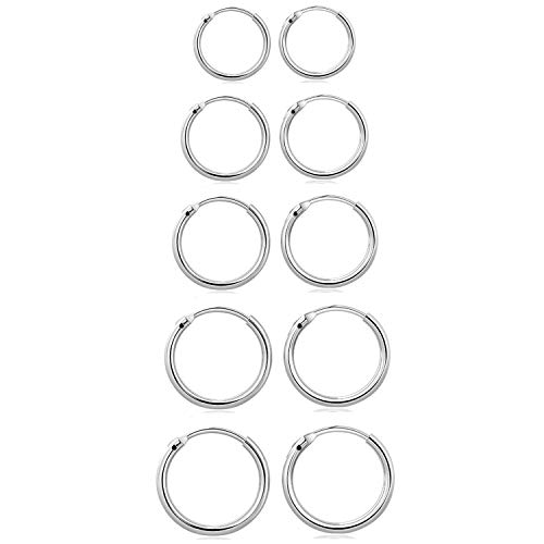 Elicola Set of 5 Pairs of Hoops Earrings in 925 Sterling for Women Men Small Round Mini Sleeper Cartilage Earrings Hypoallergenic 8/10/12/14/16mm