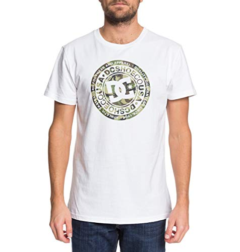 DC Apparel Herren Circle Star T-Shirt, Snow White/Camo, L
