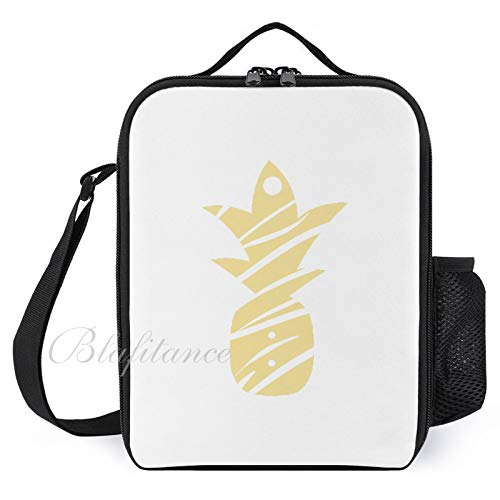 Kids Insulated Lunch Bags Lunch Box for Women with Bottle Holder Side Pineapple Earring Card Fashion Large Lunchbox for Men Adult Reusable Meal Prep Bag for Work School Picnic