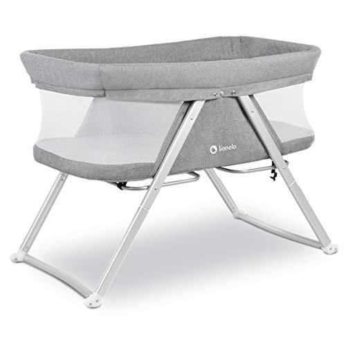 Lionelo Vera 3in1 Baby Bett Reisebett Baby Beistellbett Baby ab Geburt bis 9 kg luftige Seitenwände stabile Konstruktion Faltmatratze Moskitonetz Grau