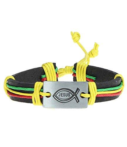Caripe Leder Armband Damen Herren Surfer Lederarmband Peace Retro Wickelarmband - yhcp (Jesus bunt)