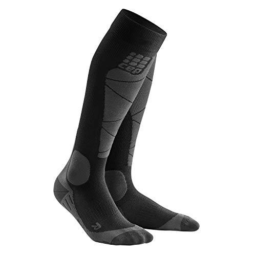 CEP - SKI Merino Socks für Damen | Skisocken mit Kompression und Merinowolle in schwarz/grau | Größe III