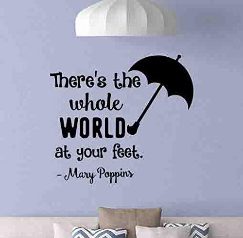 Mary Poppins Quote Muursticker Er is de hele wereld paraplu Poster Vinyl Sticker Kwekerij Teken Baby Meisje Muurdecoratie Playroom Wall Art ST gemakkelijk aan te brengen en verwijderbaar