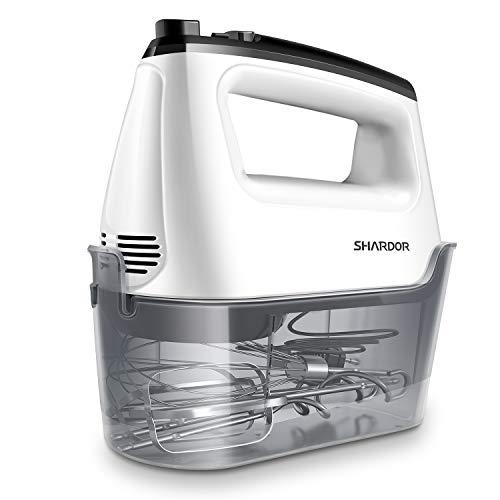 SHARDOR Handmixer Elektrischer 400W Handrührer mit Aufbewahrungskiste,6 Geschwindigkeitsstufen Handrührgerät Mixer Plus Turbofunktion Weiß/Schwarz