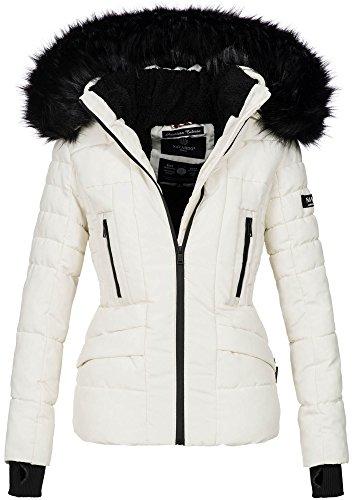 Navahoo Damen Winter Jacke warm gefüttert Teddyfell Stepp Winterjacke B361 [B361-Weiss-Gr.XL]