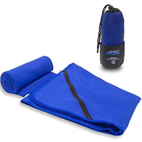 Aribari Sporthandtuch - Mikrofaserhandtuch - kompakt, Ultra leicht und schnell trocknend - ideal für Fitness und auf Reisen - mit und ohne eingenähter Tasche - 100 x 50 cm (Blau mit Tasche)