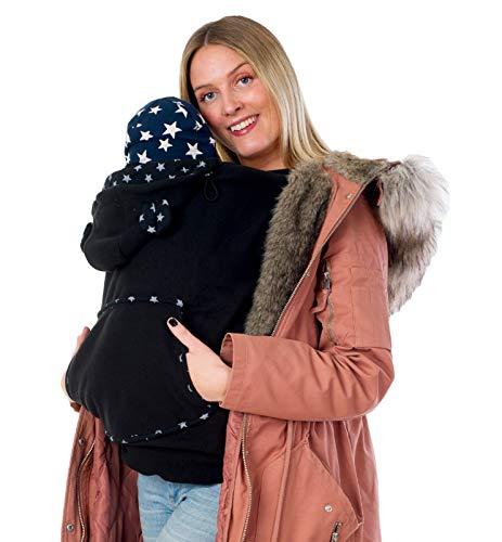 Divita Fleece Tragecover für Tragejacken & Tragetücher Babytrage Cover mit Schalkragen (Schwarz)