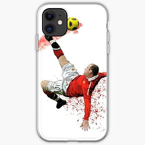 Kivbsho Compatibile con iPhone 11 12 PRO Max XR 6/7/8 SE 2020 Case Rooney England Manchester United U Wayne Football Soccer MUFC Man Pure Clear Custodie per Telefono TPU Protezione dei Graffi Cover