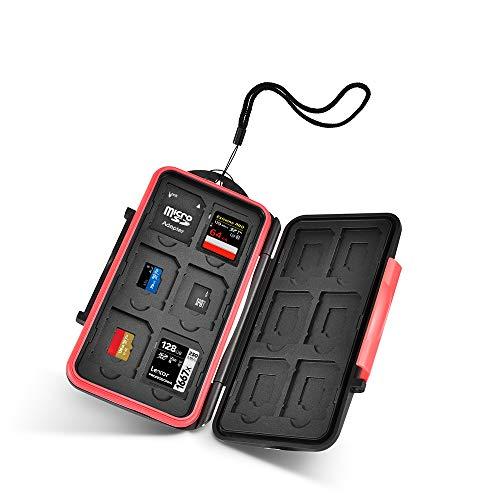 UTEBIT Speicherkarte Sd-Karte Tasche Mini SD Card Case Sd Organizer Schwarz Rot Speicherkartenetui Aufbewahrung Schutzbox Wasserdicht Schutzhülle mit Lanyard für 12 SD-Karten und 12 Mikro-SD-Karten