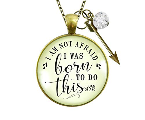 Gutsy Goodness 24' I Am Not Afraid Necklace I Was Born Quote Joan of Arc Boho Jewelry
