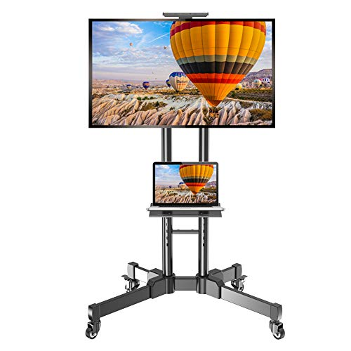 """Mobile TV Stand Rolling TV Cart with Wheels for 32-70 inch TVS Flat Curved Screen Outdoor Indoor Tall TV Floor Stand Trolley Max Adjustable Height 75"""" Load 110 lbs, VESA 200x200 to 600x400"""