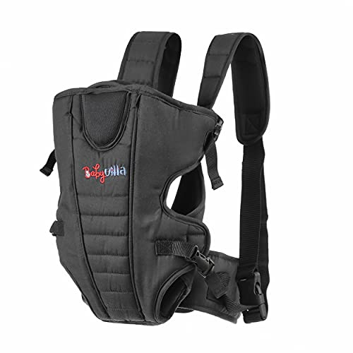 BABYVILLA Kids 4-in-1 Adjustable Baby Carrier Cum Kangaroo Bag/Baby Carry Sling/Back/Front Carrier for Baby with Safety Belt and Buckle Straps (Black)