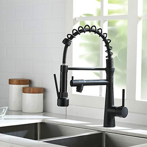 TIMACO Wasserhahn Küche Schwarz - 360° schwenkbar mit Spiralfeder Brause ausziehbar Gastro Hochdruck Küchenarmatur Spültischarmatur