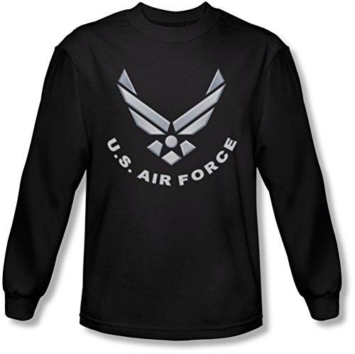 Air Force - - Logo T-shirt à manches longues pour hommes, Large, Black
