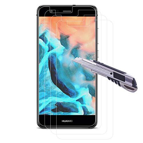 [3 piezas] Protector Pantalla para Huawei P10 Lite, película templada [2.5D], dureza 9H, anti-burbujas, HD transparente, antihuellas, Protector Pantalla para P10 lite -Transparente