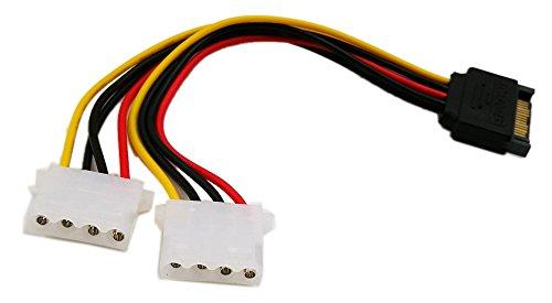 zdyCGTime 6 Pulgadas SATA de 15 Pines Macho a Doble lp4 Molex de 4 Pines Hembra IDE Disco Duro Adaptador de Cable conversor, Clavija Macho a Hembra para 12 V/5 V IDE HDD DVD